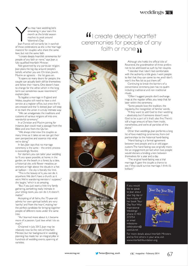 ETC Magazine article, February 2014